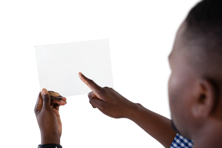 Man using futuristic digital tablet against white background Stock Photo