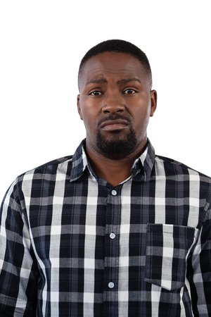 checker: Portrait of confused man against white background
