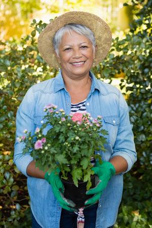 Portrait of senior smiling woman holding sapling plant in garden Stock Photo