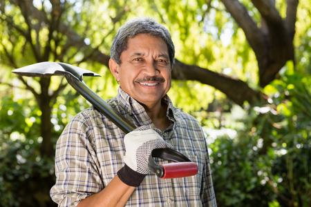 Portrait of senior man standing in garden on a sunny day Stock Photo