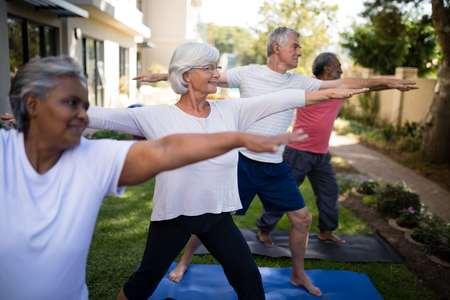Multi-ethnic senior people stretching while exercising on yoga mats at park