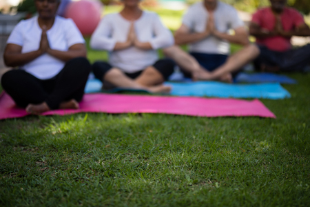 Defocused image of senior people sitting on exercise mats at park