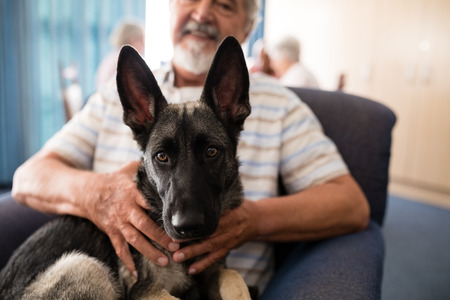 Midsection of senior man holding puppy while sitting on armchair at retirement home