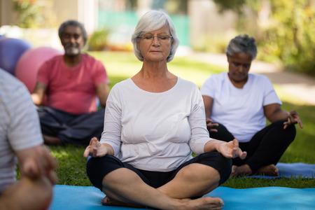 Ltere Frau meditiert mit geschlossenen Augen beim Sitzen inmitten von Freunden im Park Standard-Bild - 82720568