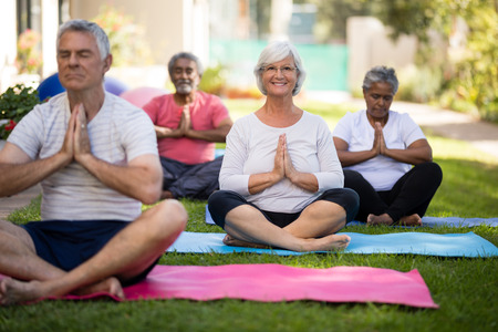 Smiling senior woman meditating in prayer position with friends at park Stock Photo