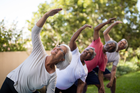 Senior people looking up while exercising with arms raised at park Stockfoto