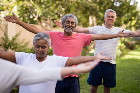 closed community: Senior friends exercising with arms outstretched and closed eyes at park Stock Photo