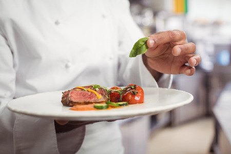 Mid section of chef holding delicious dish in kitchen at restaurant
