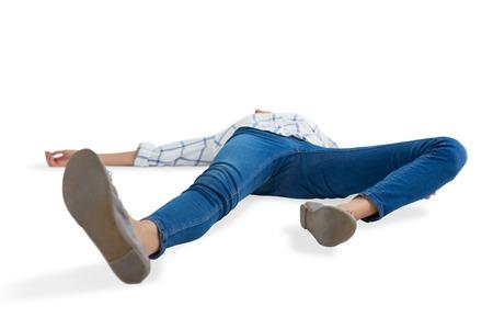 Unconscious woman lying on white background Stock Photo