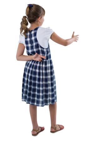 Cute girl offering handshake on white background Stock Photo