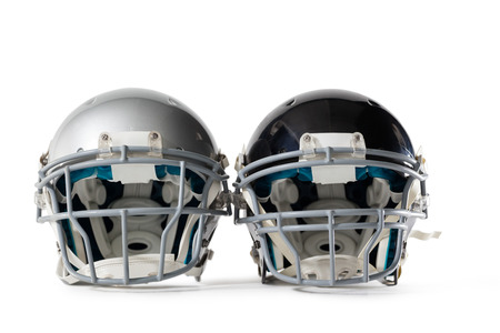 Close up of sports helmets on white background Stock Photo