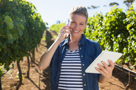 Female vintner using digital tablet while talking on mobile phone in vineyard