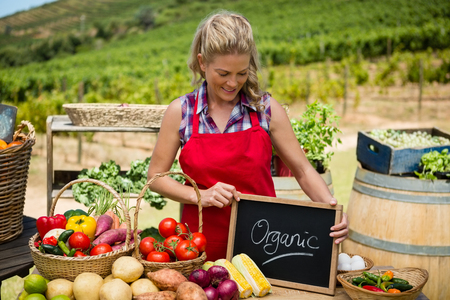 Happy woman holding slate with text at vegetable stall in vineyard