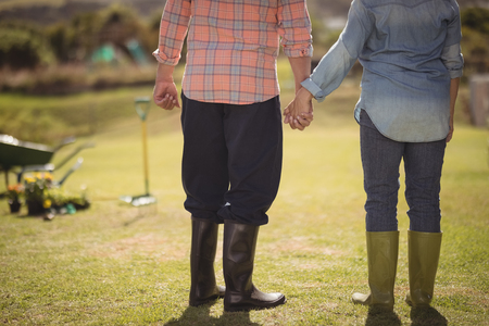 Lower section of senior couple holding hands and standing in their lawn on a sunny day