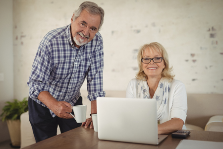 figuring: Portrait of senior couple using laptop at home Stock Photo