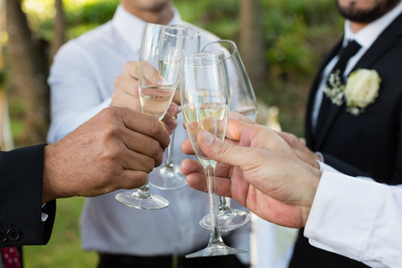 Mid section of groom and guests toasting glasses of champagne Stock Photo