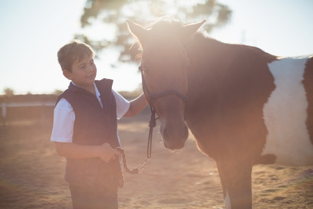 Boy holding the reins of a horse in the ranch on a sunny day Stock Photo