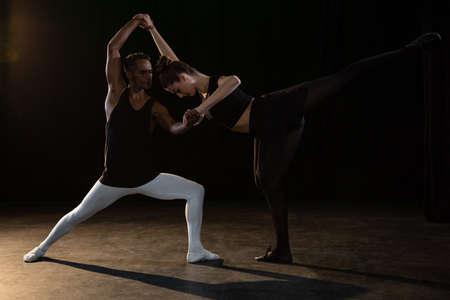 Ballet partners Practising ballet dance in stage