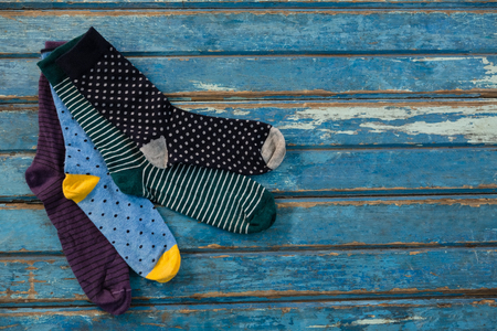 High angle view of socks on wooden table