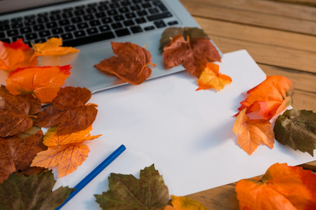 bodegones: Close up of autumn leaves with paper by laptop on wooden table Foto de archivo