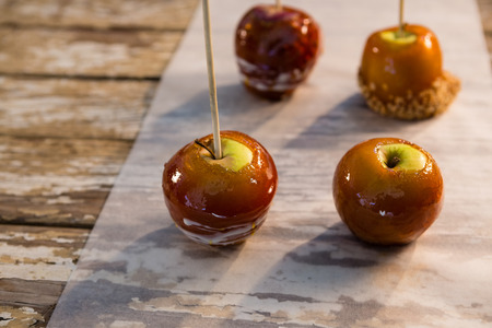 Close up of caramelized apple on table