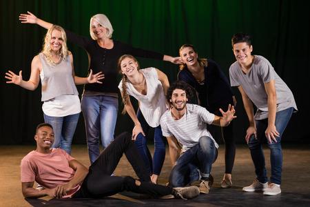 Actores, practicar, juego, etapa, teatro
