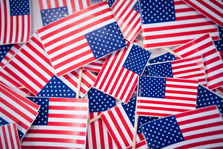 Directly above shot of small American national flags Stock Photo