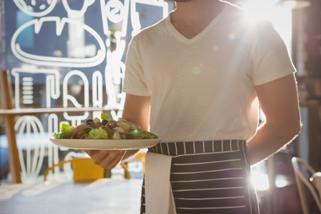 Mid section of waiter holding plate with salad in cafe on sunny day
