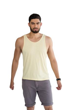 Portret van de mens die tegen een witte achtergrond Stockfoto