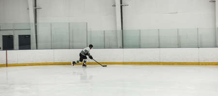 Male player practicing ice hockey at rink LANG_EVOIMAGES