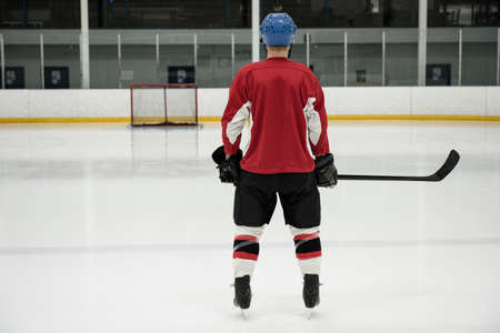 Rear view full length of ice hockey player standing at rink LANG_EVOIMAGES