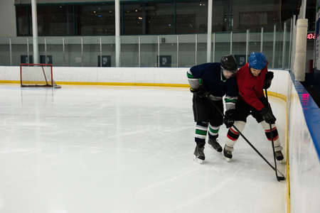 Male players in sports clothing playing ice hockey at rink LANG_EVOIMAGES