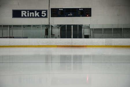 Scoreboard at empty ice hockey rink