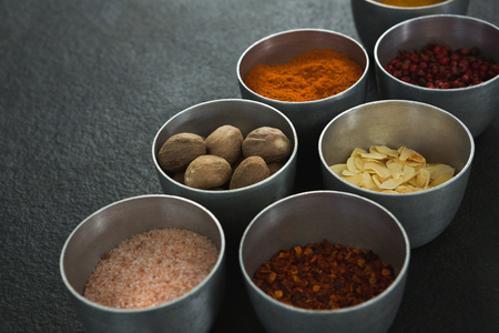 Close-up of various spices in bowl on black background