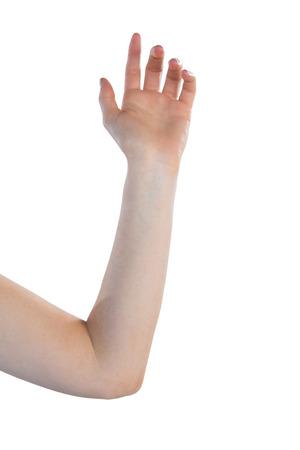 Image recadrée de main agitant sur fond blanc Banque d'images - 86208487