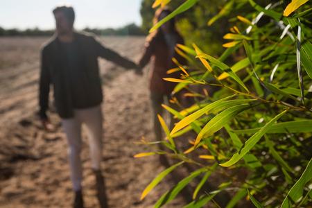 Close-up of plants by couple holding hands on field Lizenzfreie Bilder