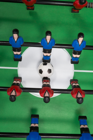 Overhead of table soccer game Stock Photo