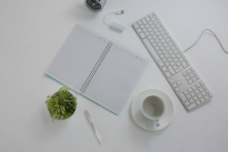 Overhead of keyboard, pot plant, pen, book, coffee cup and saucer on table