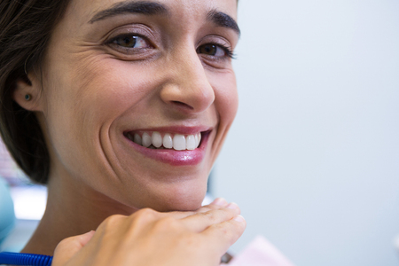 Close up of patient smiling at medical clinic