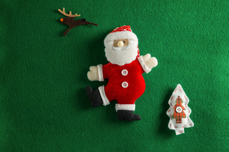 Close-up of christmas decoration on green background Stock Photo