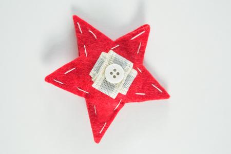 Close-up of handmade christmas star on white background Stock Photo