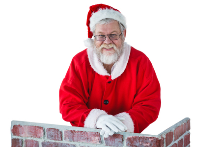 doze: Portrait of santa claus leaning on the chimney against white background