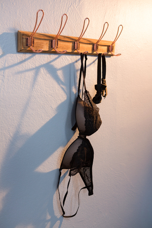 Lingerie and bow tie hanging on hook against wall Stock Photo