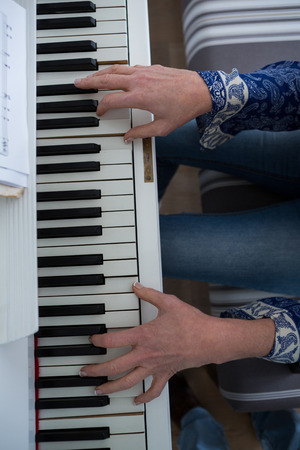 Mid section woman playing piano at home Lizenzfreie Bilder