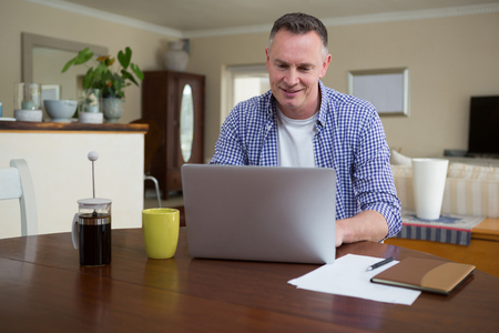 Man using laptop in living room at home Lizenzfreie Bilder