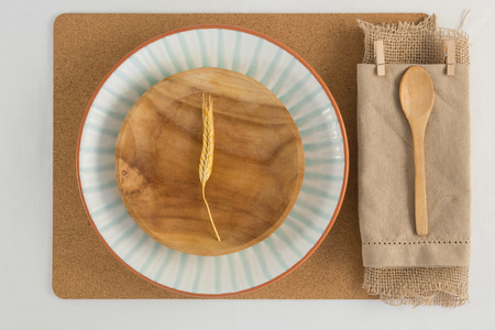 Overhead view of rustic table setting, close-up