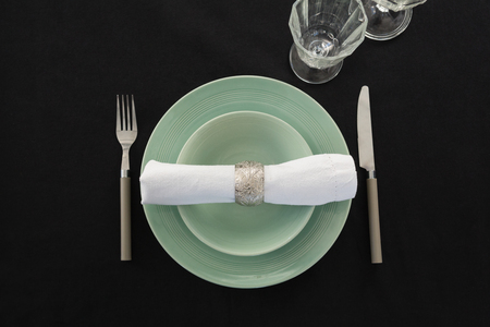 Overhead view of table setting, close-up Banque d'images
