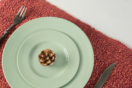 Close-up of pine cone on a plate with fork and butter knife Banque d'images