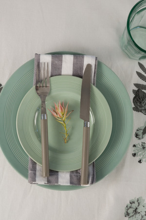 close-up of overhead view of elegant table setting