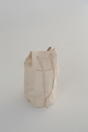Close- up sack bag on white background